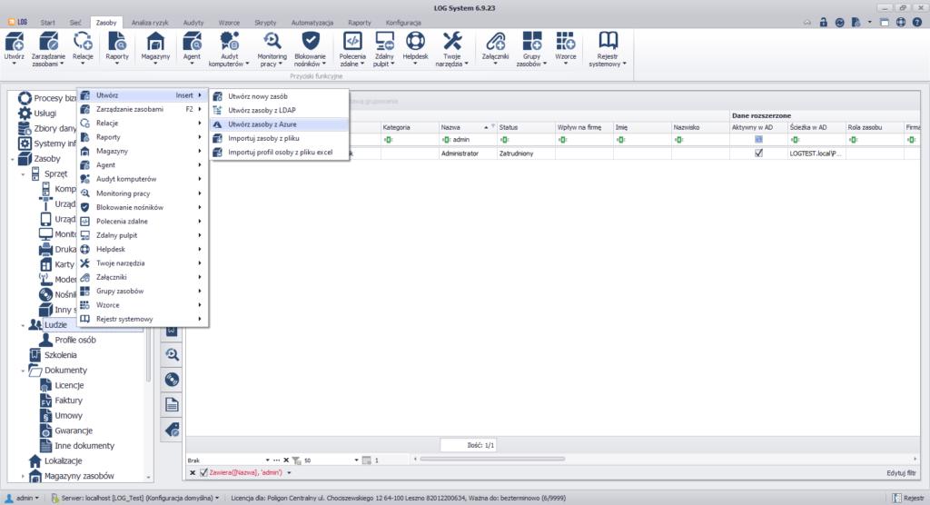 Opcja recznego importu zasobów z Azure AD w LOG 6.9