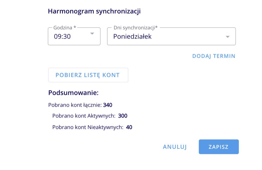LOG Plus 2.1: harmonogram synchronizacji SI