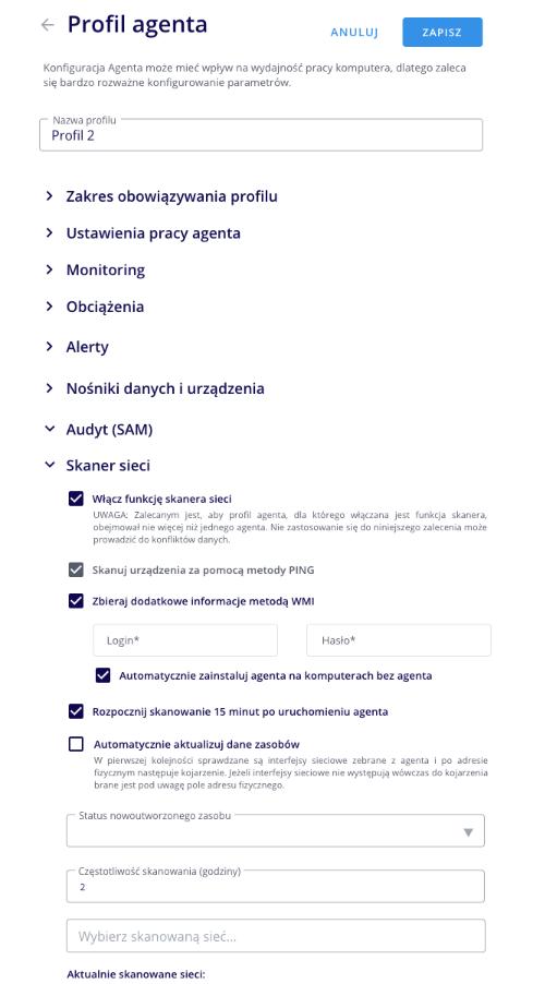 LOG Plus 2.1: Profil agenta WMI
