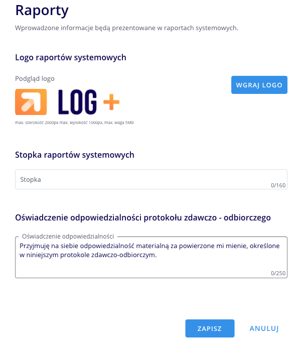 LOG Plus 2.1: nowe pole w Protokole zdawczo-odbiorczym
